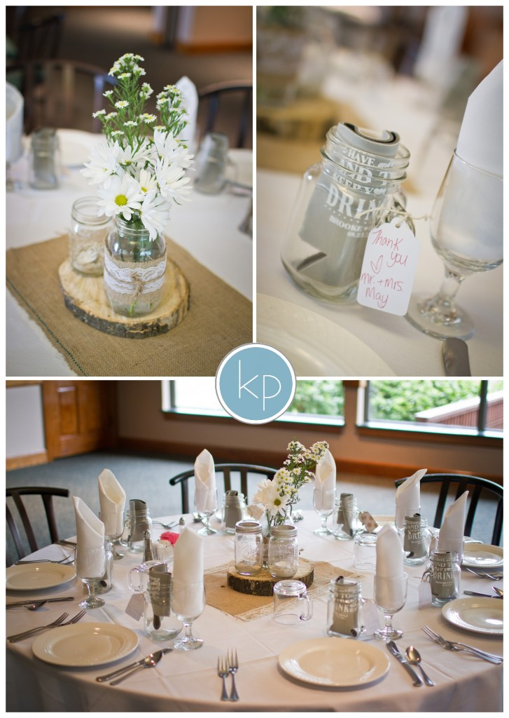 burlap wedding table with coozies for gifts