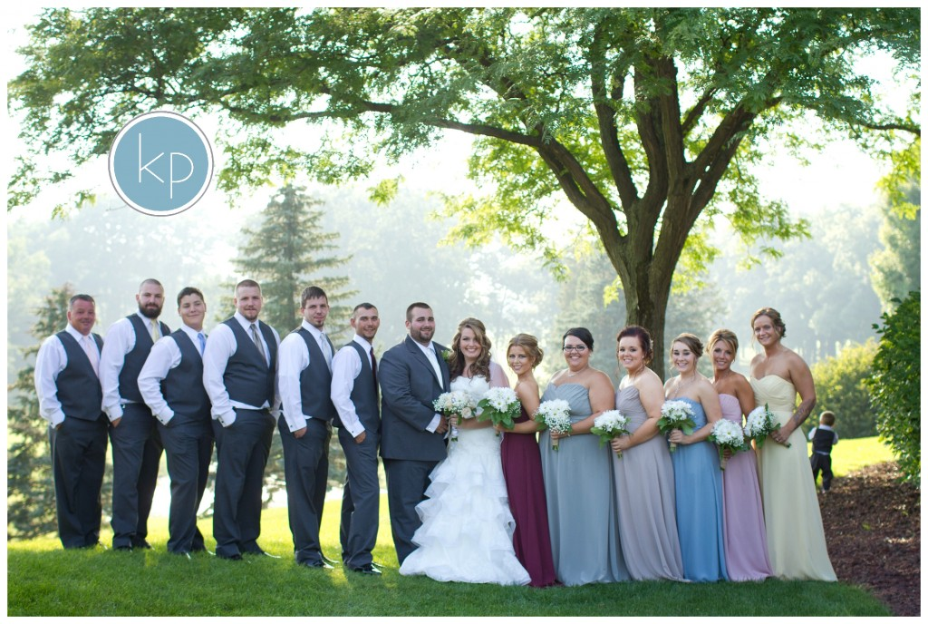 bridal party that has all different color dresses