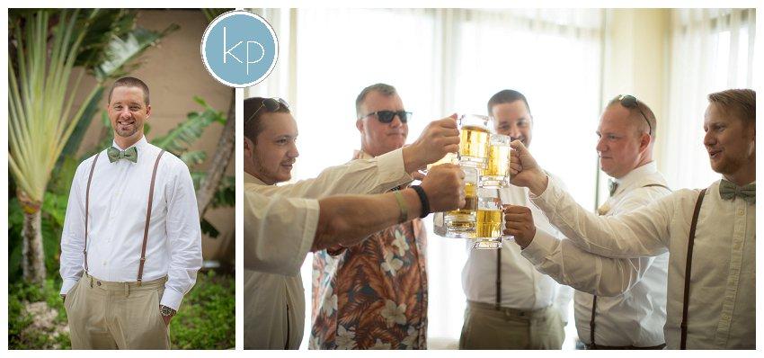 groomsmen having cheers