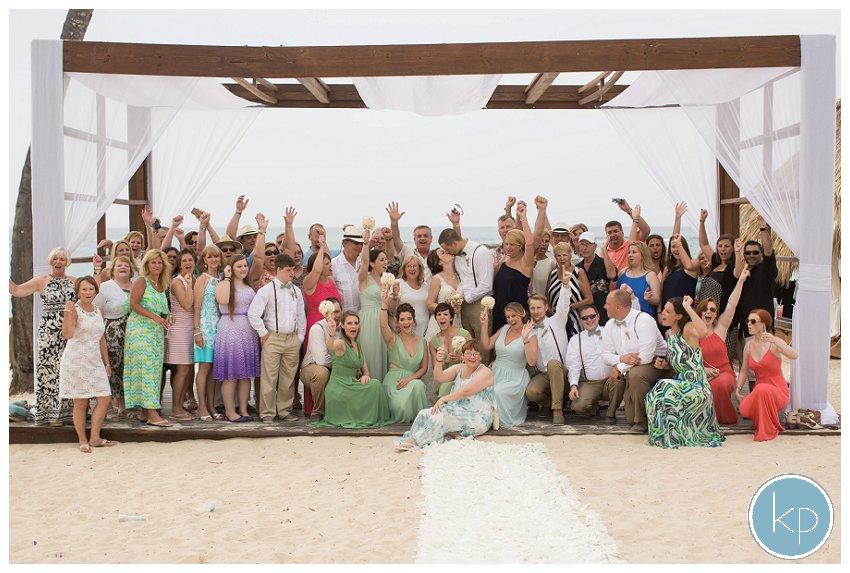 Everyone at a destination wedding, group shot
