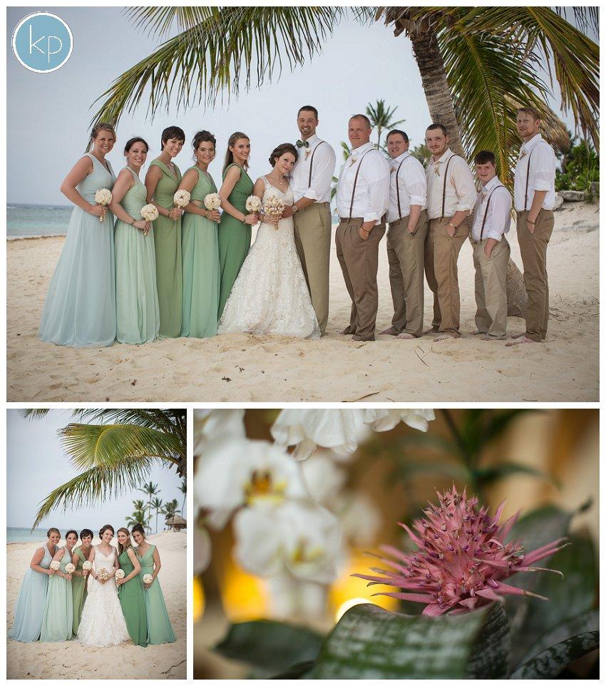 bridal party, bride with bridesmaids