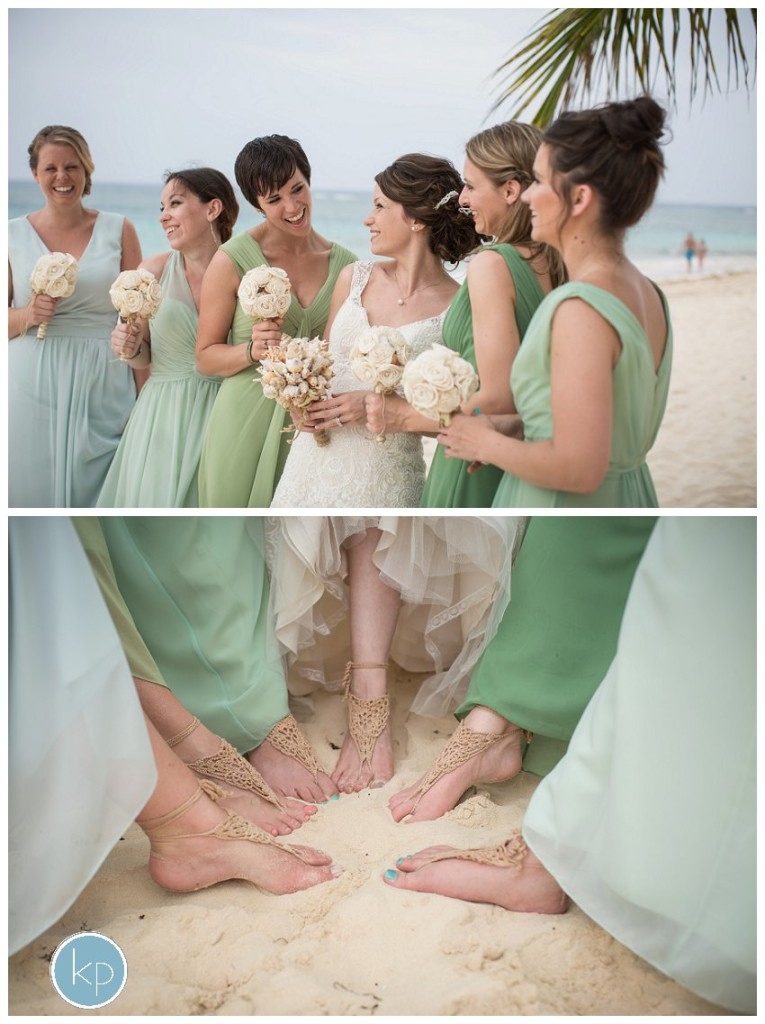 bridesmaids talking, feet in the sand