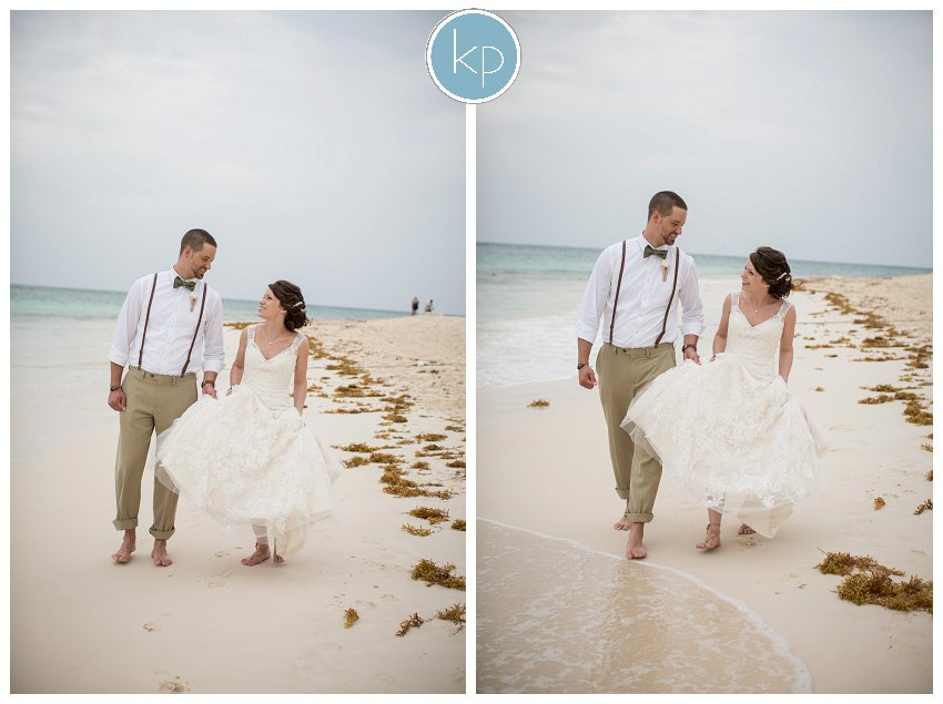 walking on the beach as husband and wife