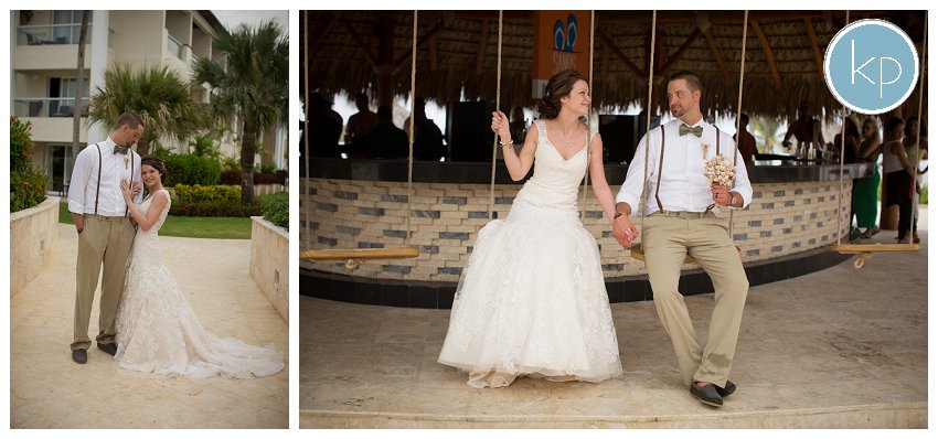 swinging bride and groom