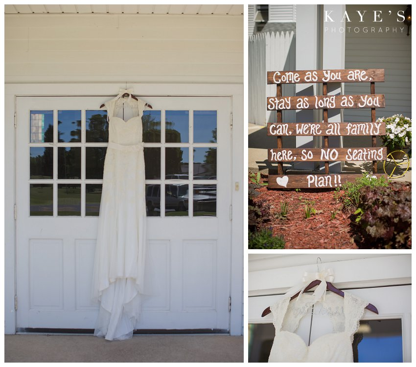 dress on white door, wire hanger with new name