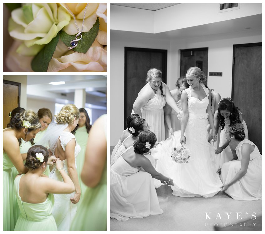 bride getting ready with bridesmaids , brides something blue