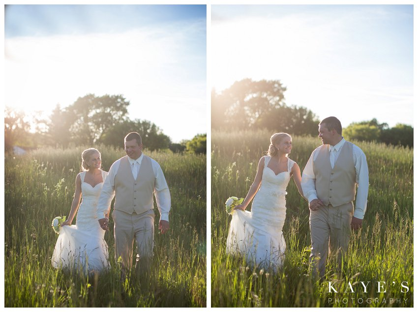 sunset pictures with bride and groom