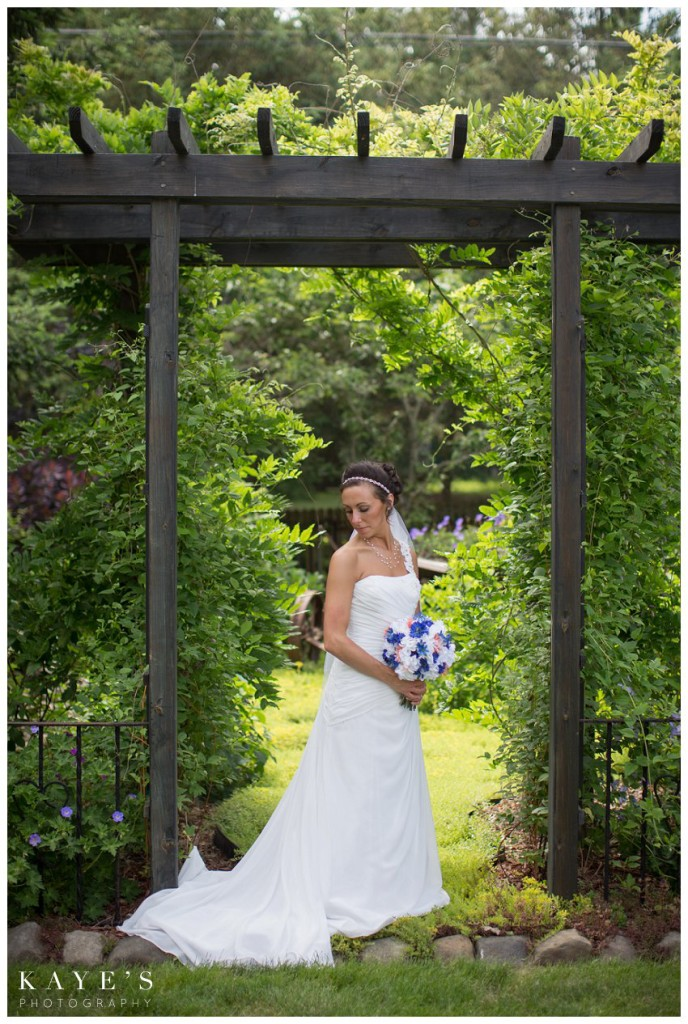bride alone in garden
