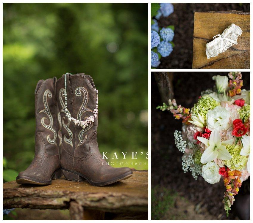 bride's cowboy boots, garter and details