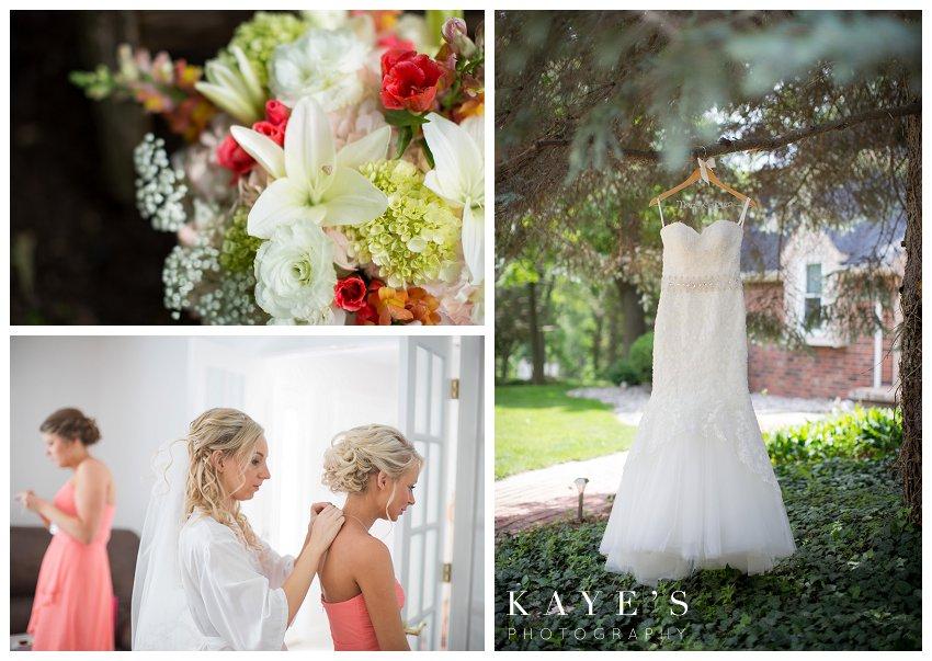 wedding dress, bride getting ready