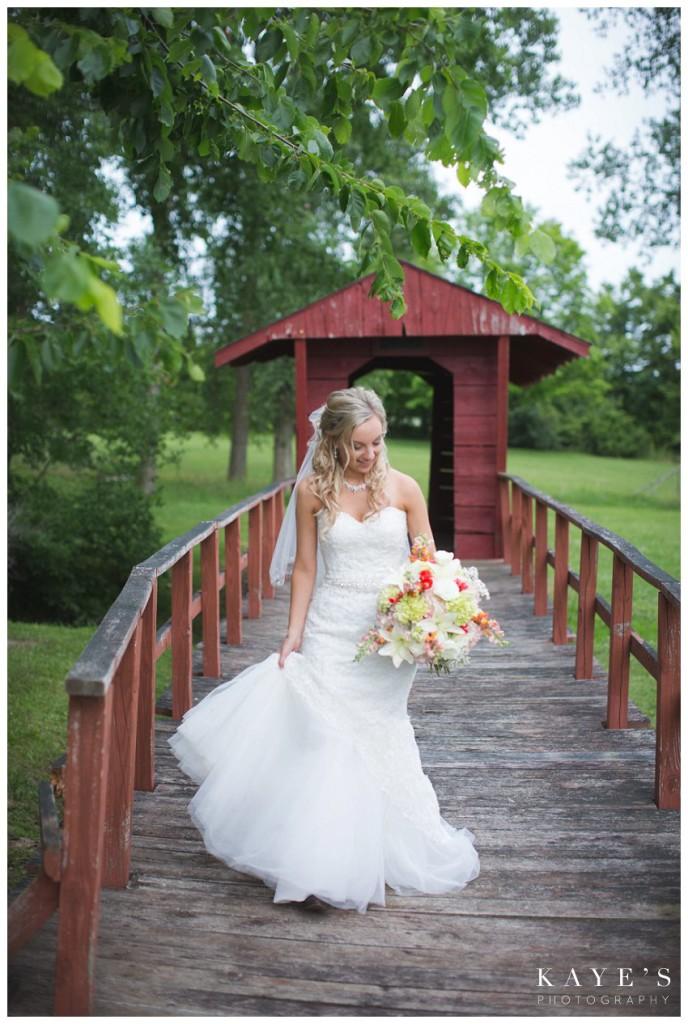 bride walking on bridge