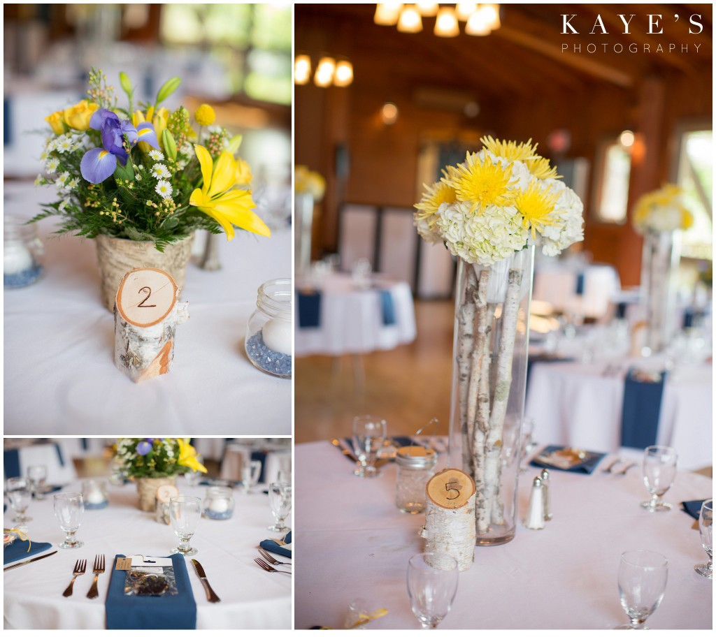 reception details, centerpieces