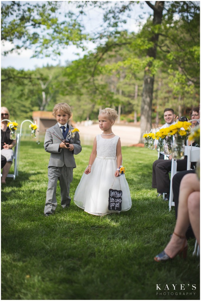 ring bearer with ring on fishing pole