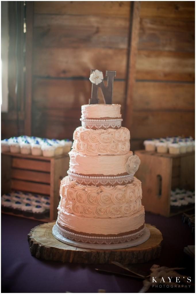 wedding cake in barn