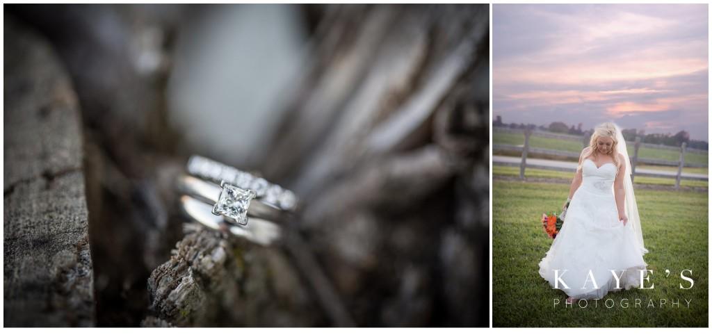 ring shot, bride at sunset