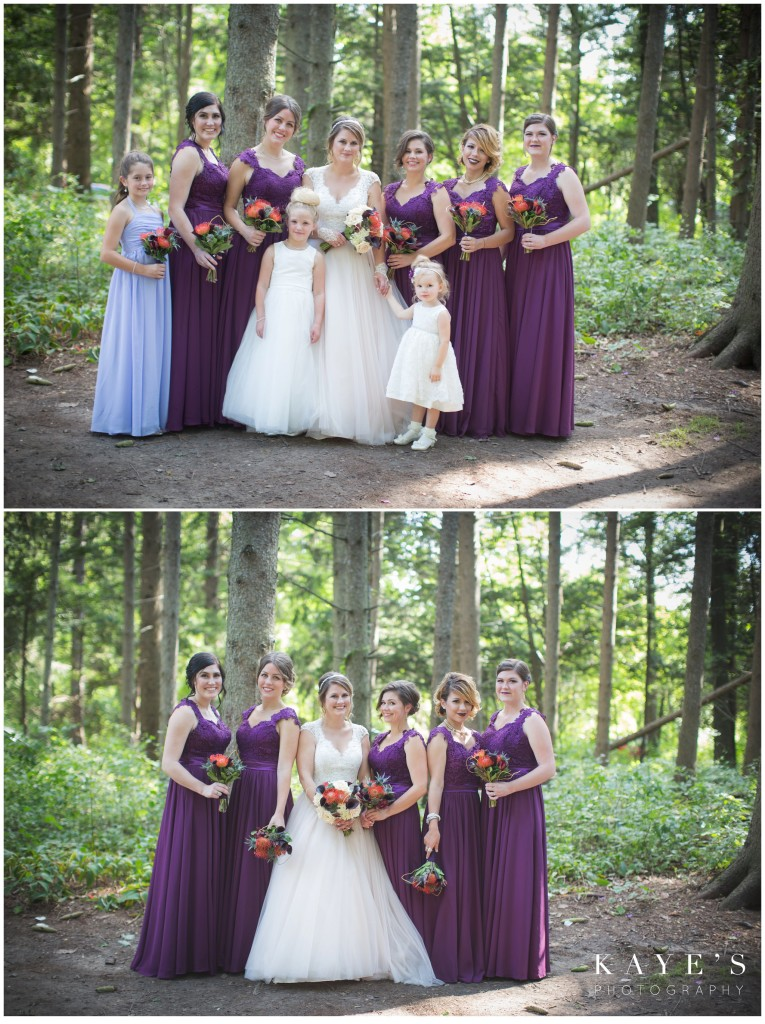 Bride with her brides maids in the woods