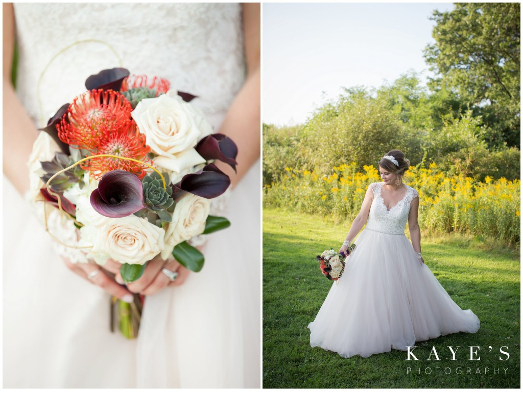 bouquet and bride portrait