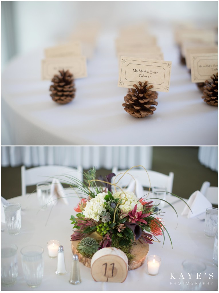 pinecone details, seating placement, centerpieces at reception