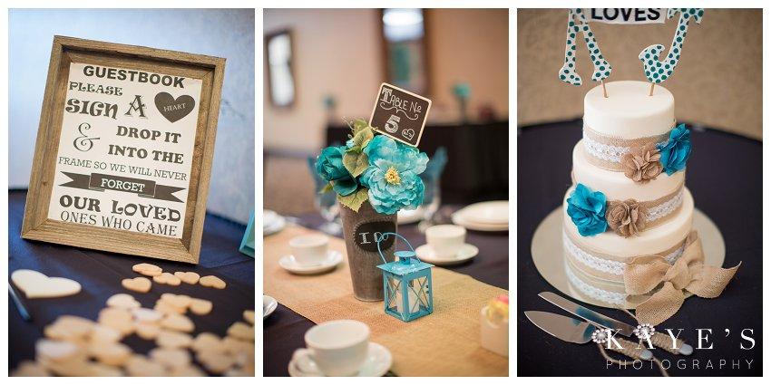 reception decor, turquoise