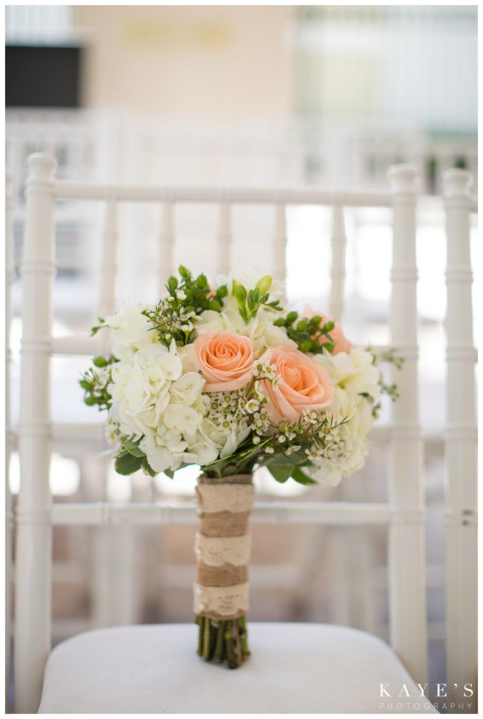 bouquet on white chair