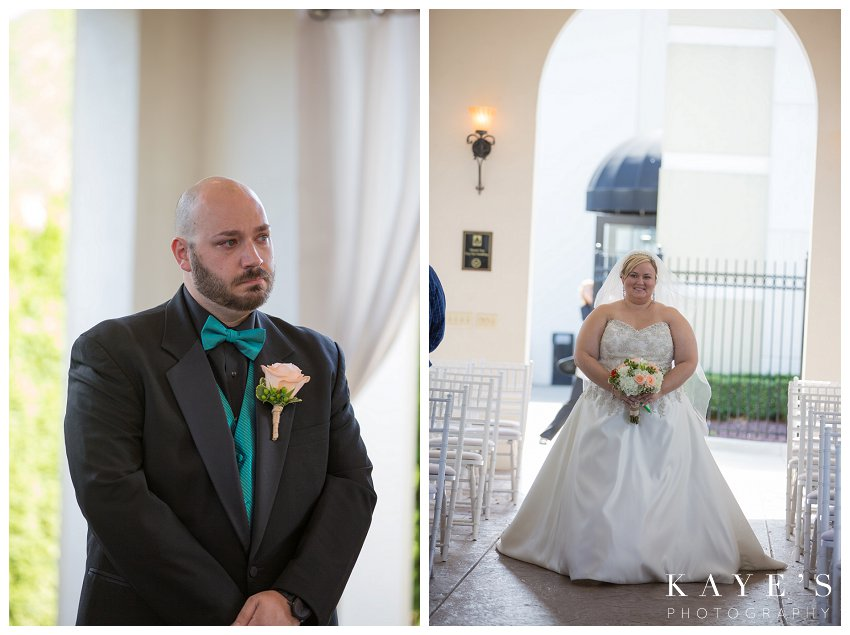 groom crying watching bride come down aisle