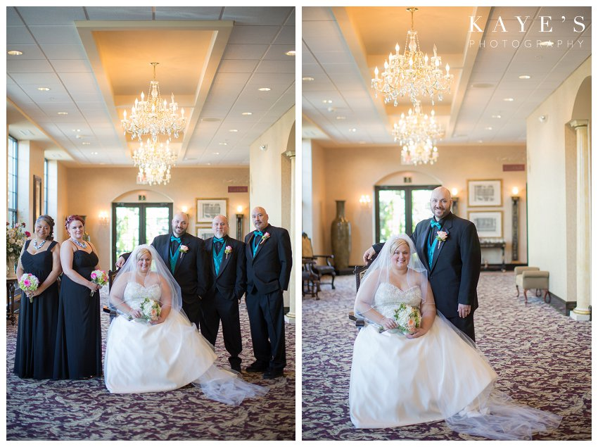 bridal party around the bride and groom
