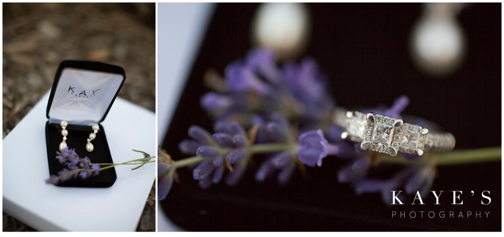 ring with lavender, earrings with lavender
