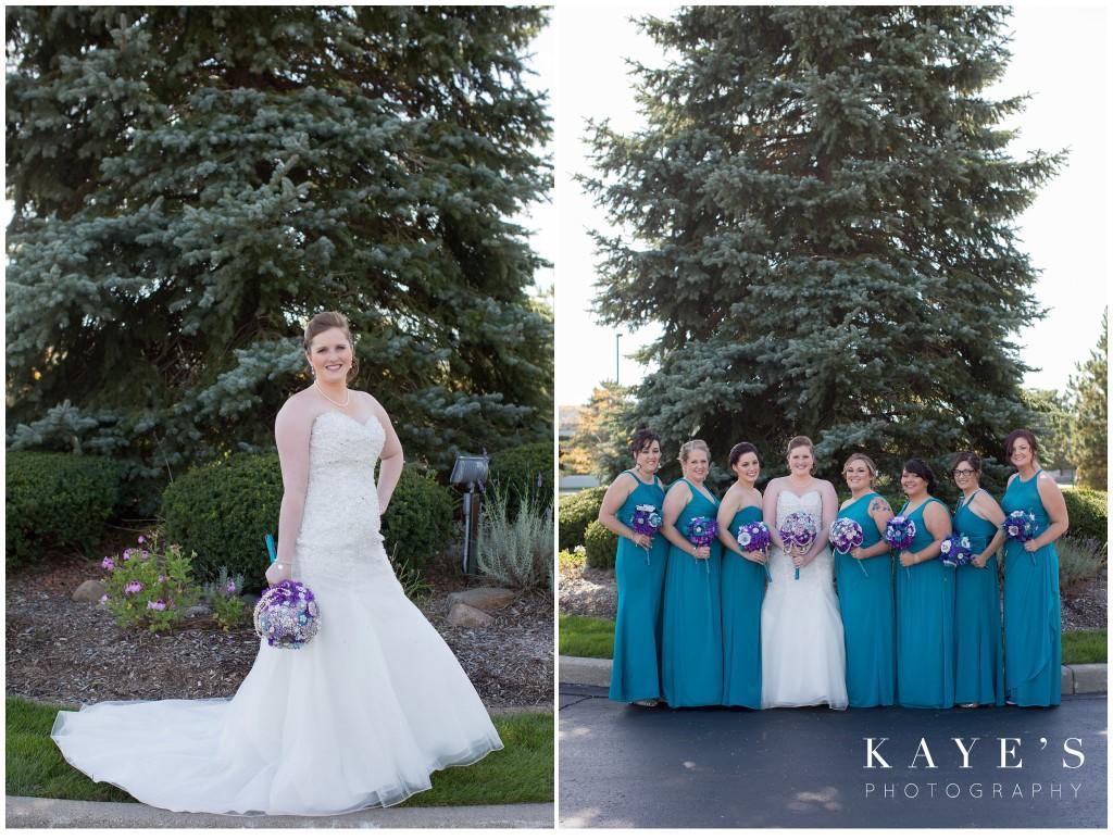 bride, bride with bridemaids