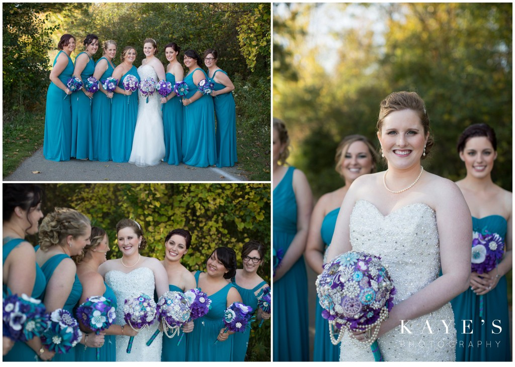 bride in the fall with her bridesmaids