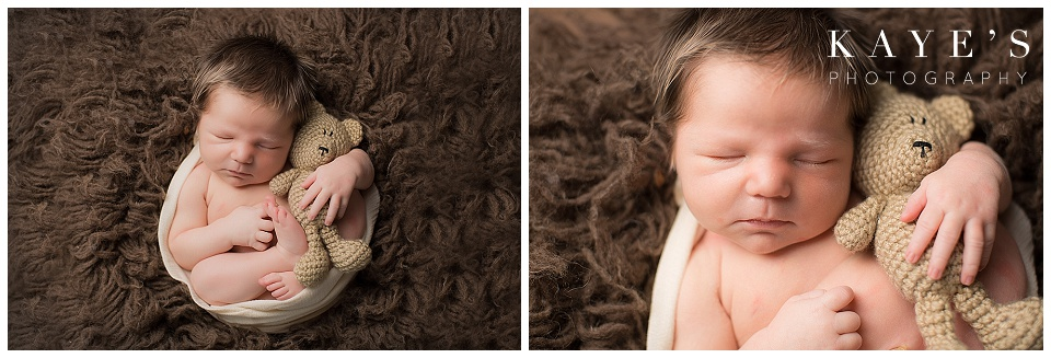 newborn with bear, close up, brown, baby boy in wrap