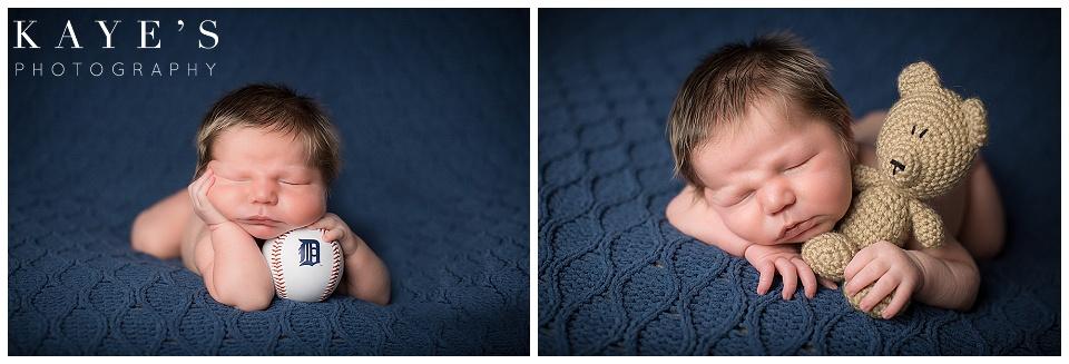 newborn with baseball, blue, baby boy blue