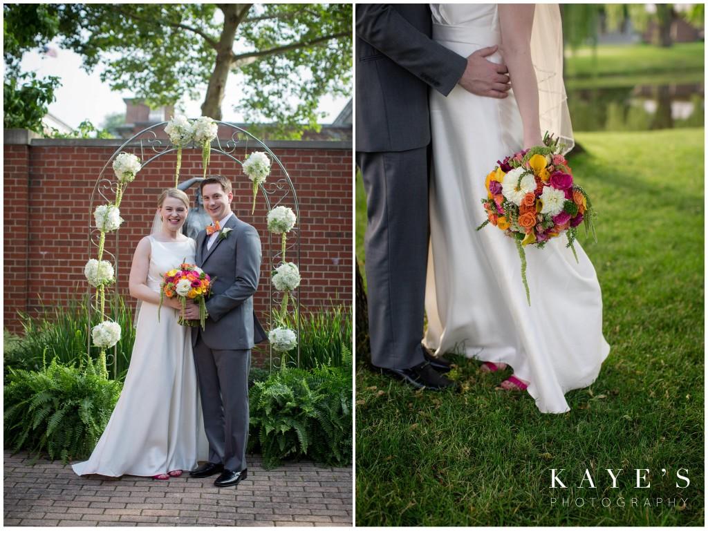 bride and groom, bouquet, henry ford lovett, wedding