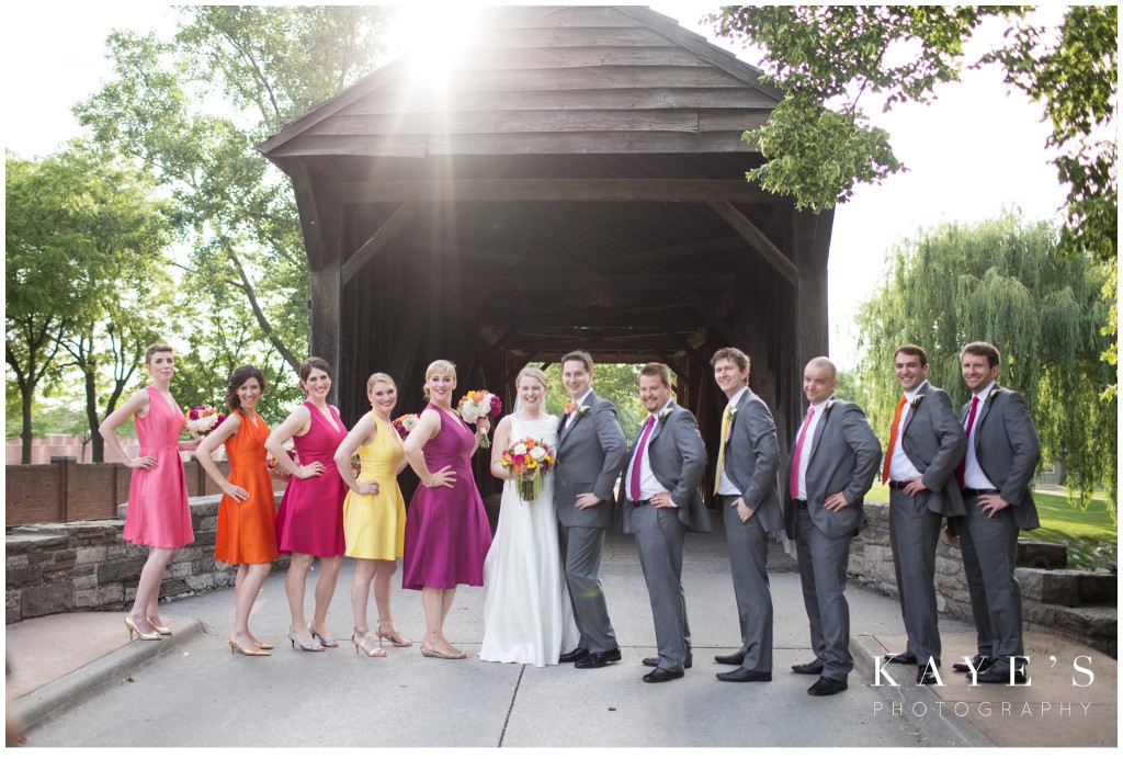 henry ford lovett, bride and groom with bridal party, wedding, colorful wedding