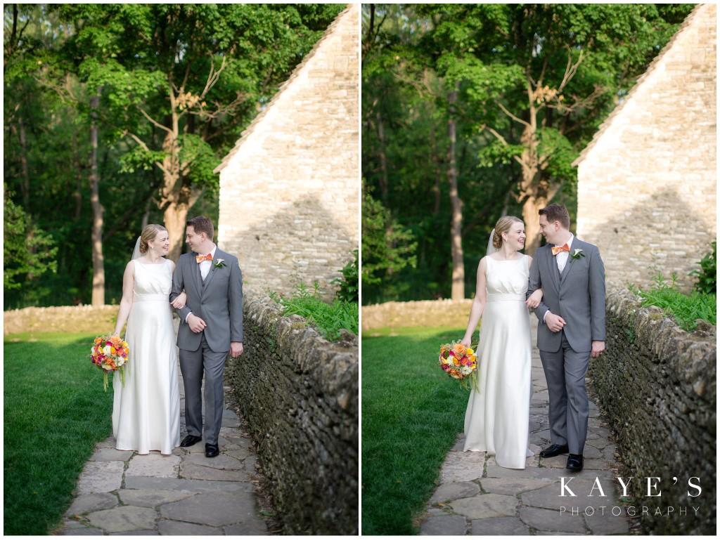 bride and groom walking, henry ford lovett, wedding