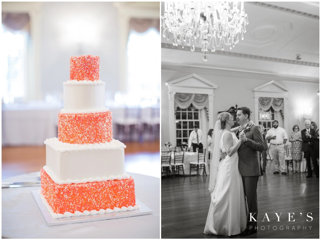 black and white, cake, bride and groom dancing, chandelier