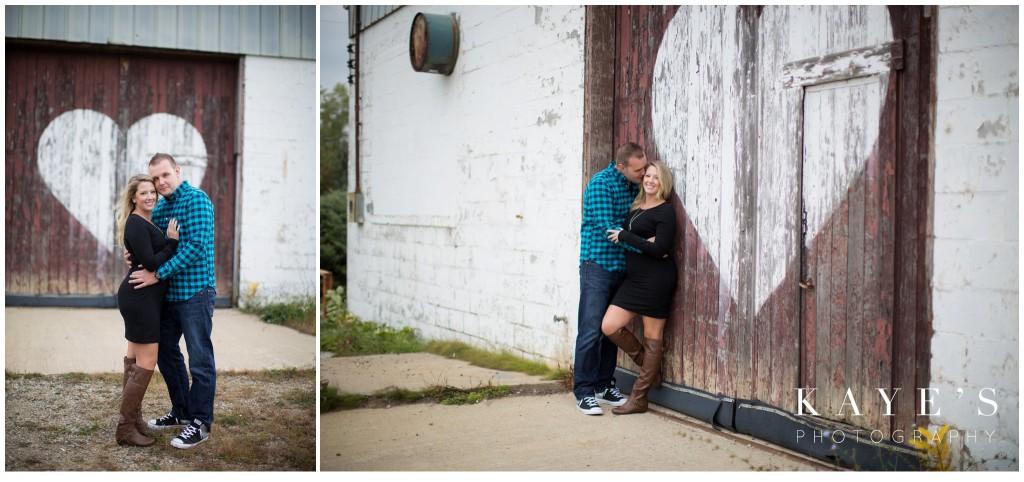 couple, cuddle, heart, barn door