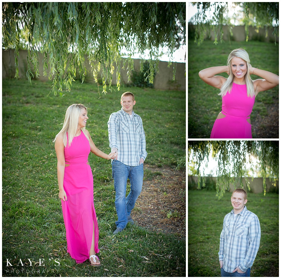 couple holding hands, individual engagement shots, couple under tree