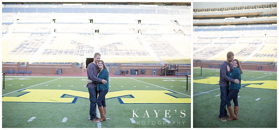 couple cuddling, U of M big house, U of M stadium, couple in stadium, michigan stadium, couple on the M, U of M ann arbor