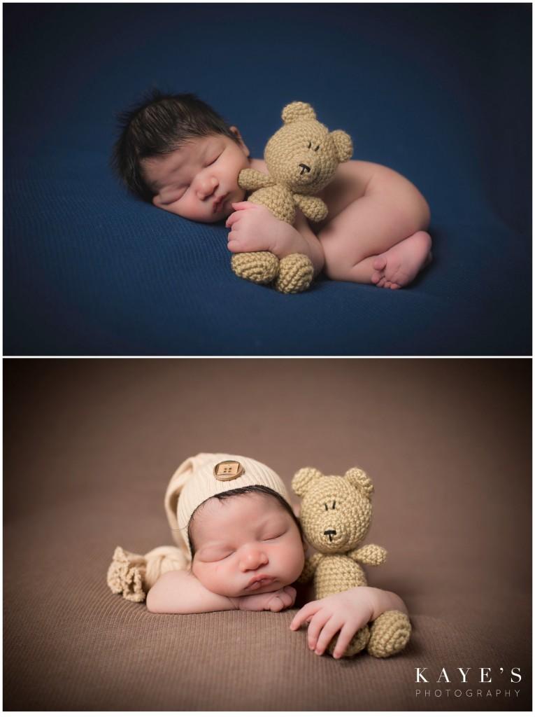baby boy blue, baby boy with bear, baby boy brown, baby boy in cap