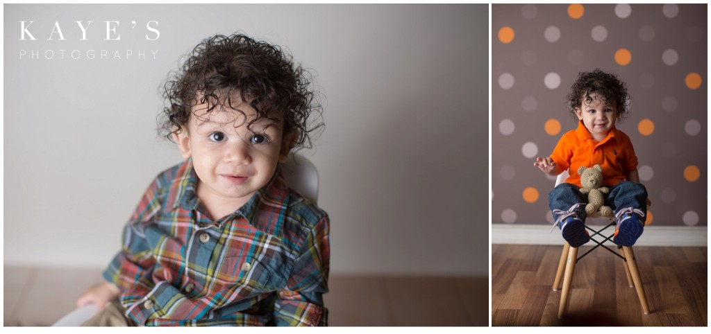 baby boy in chair, baby boy curly hair, baby boy with polka dots