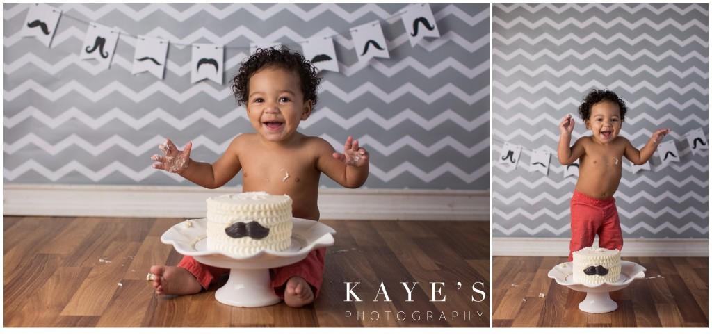 baby boy with cake, mustache cake, cake smash for boy, boy smashing cake