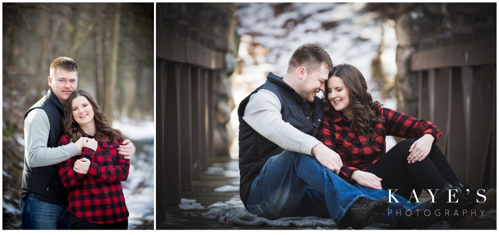 couple cuddling, couple on bridge,  couple in snow