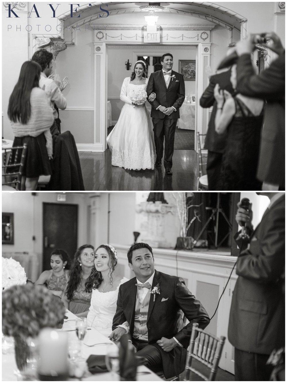 walking into reception, best man speech, clarkston wedding, head table, black and white, clarkston wedding reception, reception hall