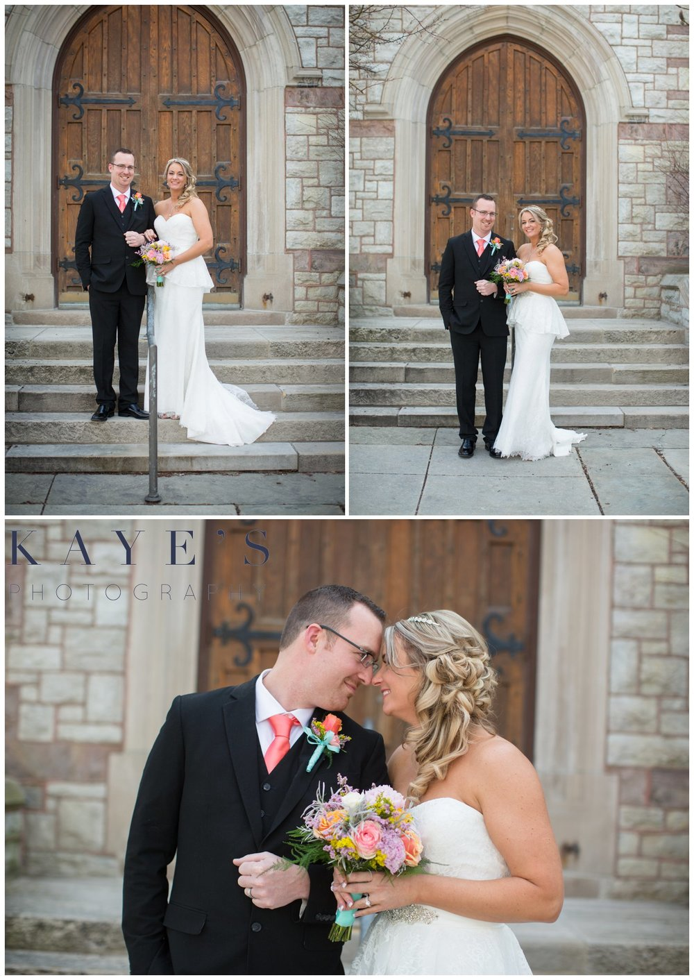 Grand Blanc wedding photographer, grand blanc wedding photography, bride and groom outside of church, bride and groom, church wedding, wedding photography ideas, bridal photography