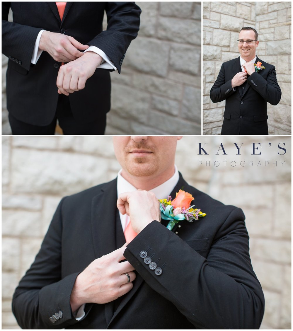Grand Blanc wedding ideas, grand blanc portrait photographer, grand blanc wedding portrait photography, groom details, groom outside of church, groom fixing cuffs