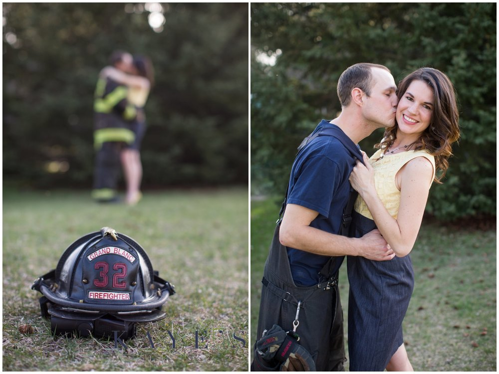 Holly Michigan wedding photography, holly michigan wedding photographer, holly michigan engagement photography, engagement photo, outdoor engagement portraits, portrait photographer, marriage photography, engagement portraits, kissing cheek, couple hugging, firefighter photos