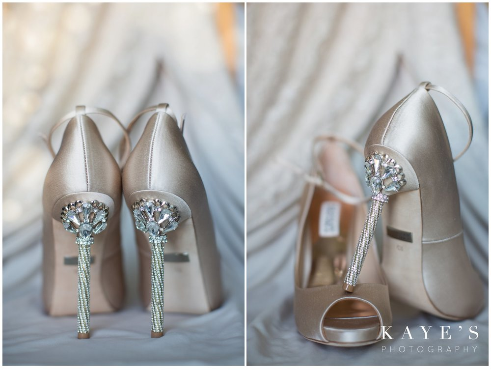 bride's rhinestone shoes posed for wedding day portraits in Detroit, Michigan