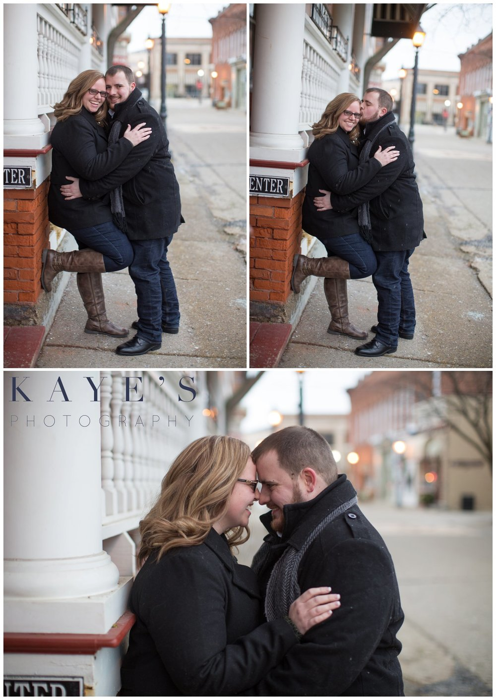 Grand blanc, Michigan engagement session with couple in the city hugging during their engagement photos
