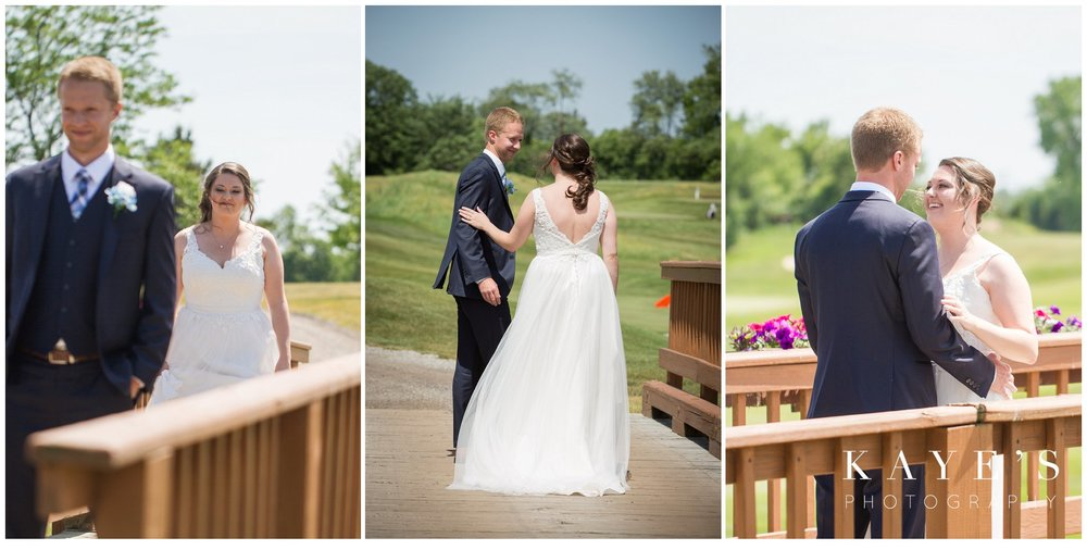 groom seeing bride for the first time at the first look during wedding photos