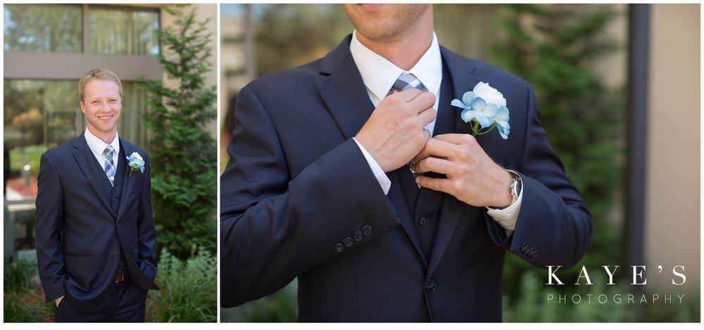 groom portraits outside along with details of grooms tuxedo in plymouth michigan